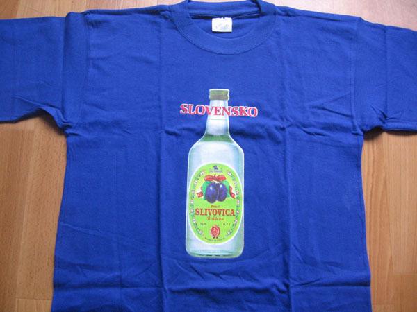 Slivovica Slovakia modré pánske tričko 100%bavlna posledný kus - veľkosť XL