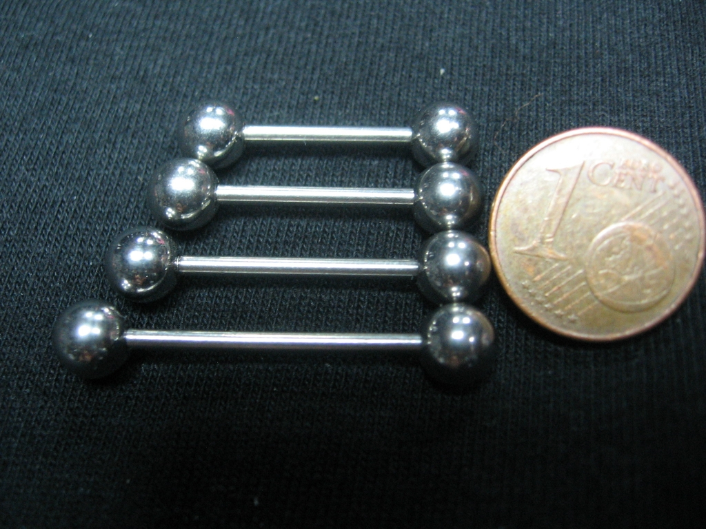 """Piercing """"činky"""" hrúbka tyčky 1mm, priemer guličiek 5mm, celkové dĺžky: 24mm, 26mm, 28mm, 32mm (požadovanú dĺžku napíšte na konci objednávky do rubriky KOMENTÁR) cena za 1ks!!!"""