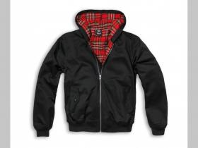 "čierna bunda Harrington s kapucou s podšívkou červené káro TARTAN ""jar/jeseň"
