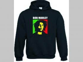 Bob Marley,  čierna mikina s kapucou stiahnutelnou šnúrkami a klokankovým vreckom vpredu