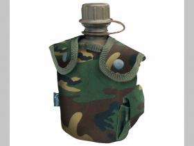 Vojenská fľaša, maskáčová umelohmotná, polná s púzdrom, objem cca. 1Liter
