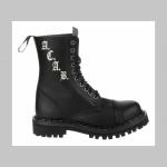 Steadys kožené topánky 10 dierkové čierne  s prešívanou oceľovou špičkou a vyšívaným logom A.C.A.B.