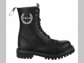 3b3c8096b5886 Steadys kožené topánky 10 dierkové čierne s prešívanou oceľovou špičkou ...