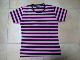 Dievčenské tričko, pruhované ružovočierne   95%bavlna  5%spandex