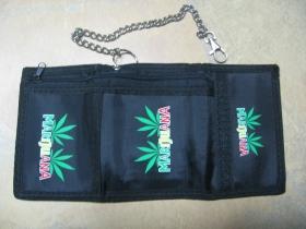 Marijuana, hrubá pevná textilná peňaženka s retiazkou a karabínkou