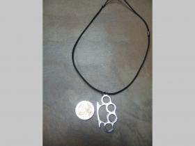 Boxer  kovový chrómovaný prívesok na krk na plastikovej šnúrke s kovovým zapínaním