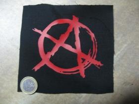 Anarchy áčko v kruhu potlačená nášivka rozmery cca. 12x12cm (po krajoch neobšívaná)