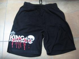 King of Fighting čierne teplákové kraťasy s tlačeným logom