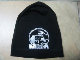 MMA zimná čiapka, tenšia  95%bavlna 5% lycra, univerzálna veľkosť, tlačené strieborné logo
