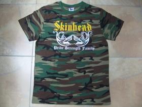 Skinhead - Pride, Strength, Family pánske maskáčové tričko 100%bavlna