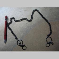 kovová reťazová kľúčenka na nohavice stredne hrubá, na koncoch s krúžkom a karabínkou dĺžka cca. 65cm farba tmavostrieborná