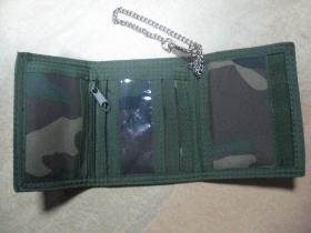Maskáčová hrubá pevná textilná peňaženka s retiazkou a karabínkou, pohľad dovnútra