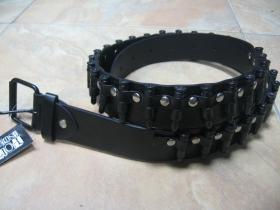 Opasok čierny s plastovou imitáciou nábojov, syntetická koža