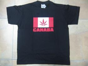Canaba, čierne pánske tričko 100%bavlna Fruit of The Loom