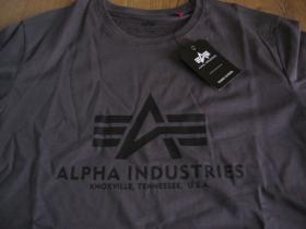 Alpha Industries - tmavošedé pánske tričko s čiernym tlačeým logom materiál: 100%bavlna