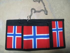 Norway, nórska vlajka, hrubá pevná textilná peňaženka s retiazkou a karabínkou