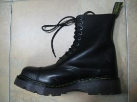 T-REX  10.dierkové čierne topánky s prešívanou oceľovou špičkou z pravej kože najvyššej akosti - TOP KVALITA!!!