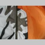HRUBÁ ZIMNÁ BUNDA BOMBER PILOTNÁ MA-1 farba METRO s oranžovou podšívkou
