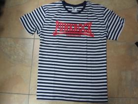 Punk rock Generation pruhované modrobiele pánske tričko s červeným tlačeným logom 100%bavlna