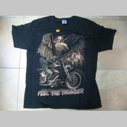 Feel The Thunder  - motorka / orol  čierne pánske tričko 100%bavlna