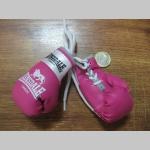 Ružové Lonsdale mini Boxerské rukavice prívesok na šnúrke vhodný aj do interiéru auta pre zavesenie na spätné zrkadlo (cena za jeden zviazaný pár)