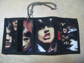 AC/DC, hrubá pevná textilná peňaženka s retiazkou a karabínkou