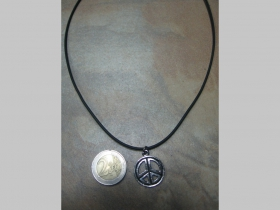 Peace  kovový chrómovaný prívesok na krk na plastikovej šnúrke s kovovým zapínaním