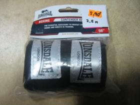 Lonsdale, boxerské bandáže na suchý zips, čierne 2,5m 100%bavlna (cena za 1pár)