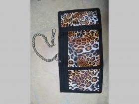 Leopard, hrubá pevná textilná peňaženka s retiazkou a karabínkou