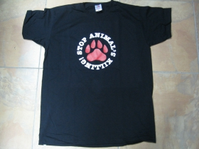 Stop Animals Killing, čierne pánske tričko 100%bavlna