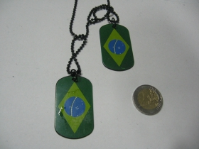 """Brasil  kovový prívesok na krk """"Dog Tag"""" s dvomi známkami"""
