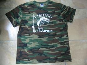 Fishing Champion  maskáčové rybárske tričko 100%bavlna