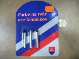 Slovensko farby na tvár 100% ekologicky nezávadné farby trikolóra  (nevhodné pre deti do 3rokov)