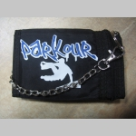 Parkour čierna pevná textilná peňaženka s retiazkou a karabínkou, tlačené logo