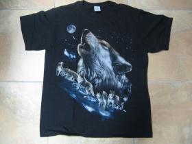 vlk pánske tričko čierne 100%bavlna