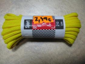 Bavlnené žlté okrúhle šnúrky do 15-20dierkových topánok  dĺžka 210cm