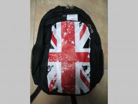 Britská vlajka UNION JACK, čierny ruksak s troma prepáškami a tromi zipsami, rozmery pri plnom obsahu cca.40x30x30cm, materiál polyester/nylón