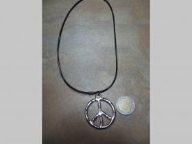 Peace,  kovový chrómovaný prívesok na krk na plastikovej šnúrke s kovovým zapínaním