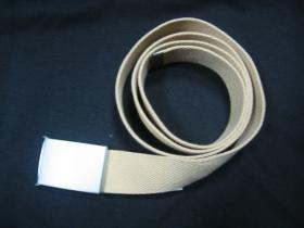 čistý pieskový hrubý látkový opasok so zapínaním na posuvnú kovovú pracku, univerzálna nastaviteľná dĺžka, šírka 37mm