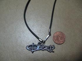 Ozzy Osbourne, kovový chrómovaný prívesok na krk na plastikovej šnúrke s kovovým zapínaním