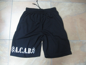 A.C.A.B.  čierne teplákové kraťasy s tlačeným logom
