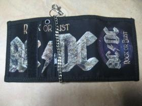 AC/DC  hrubá pevná textilná peňaženka s retiazkou a karabínkou