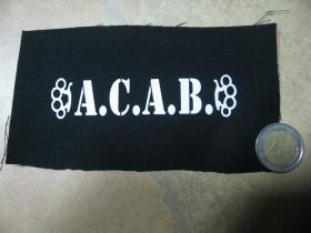 A.C.A.B. malá potlačená nášivka rozmery cca. 12x6cm (po krajoch neobšívaná)
