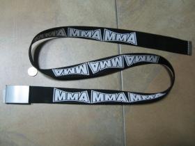 MMA Fighting čierny hrubý látkový opasok so zapínaním na posuvnú kovovú pracku, univerzálna nastaviteľná dĺžka, šírka 37mm