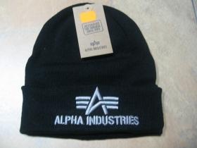 Alpha Industries čierna zimná čiapka s vyšívaným logom, univerzálna veľkosť, materiál 100%akryl