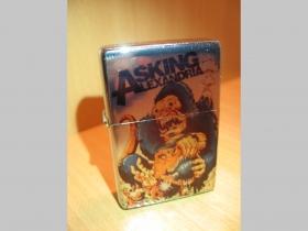 Asking Alexandria, doplňovací benzínový zapalovač s vypalovaným obrázkom (balené v darčekovej krabičke)