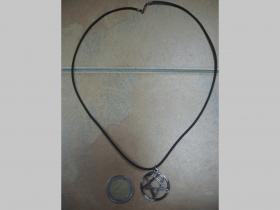 HIM - Hertagram  kovový chrómovaný prívesok na krk na plastikovej šnúrke s kovovým zapínaním