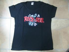 Rock n Roll  čierne dámske tričko Fruit of The Loom  100%bavlna