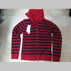 červenočierny pruhovaný dámsky sveter na zapis  posledný kus veľkosť M/L