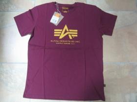 Alpha Industries bordové pánske tričko 100% bavlna